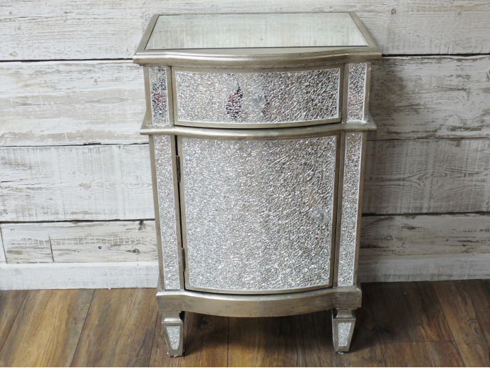 SILVER MIRRORED CRACKLED GLASS BEDSIDE CABINET UNIT LAMP TABLE (DX4699)