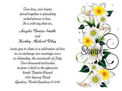 Calla Lily Wedding Invitation (100 Personalized Custom Calla Lily Floral Wedding Invitations Set )