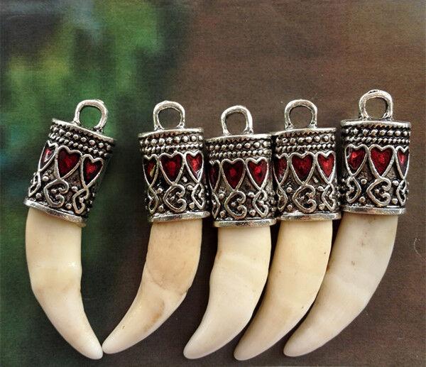 5PCS Tooth Bone Carved Red Heart Enamel Heart Cap Tibet Amulet Pendant DIY BEADS