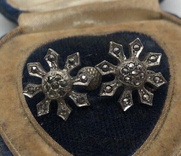 Vintage Sterling Silver Earrings 925 Snowflake Screw Back Marcasite