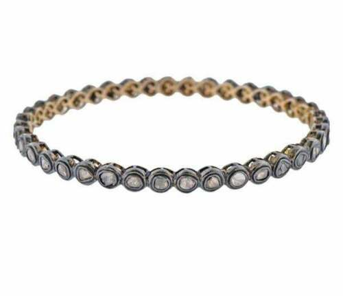 NATURAL DIAMOND Bangle Bracelet 39 Rose Cut DIAMONDS in 14K Gold and Silver