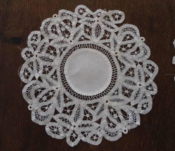 """Pair 2 Vintage Authentic Battenburg Lace Doilies Linen Center White 9"""""""