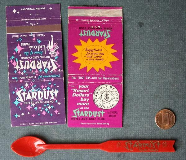 1960s Era Las Vegas Nevada Stardust Casino 2 matchbook & cocktail spoon set!*