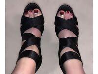 Brand new black block heeled strap wrap sandals, size 5