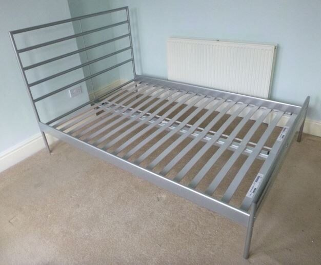 Silver Ikea Double Bed Frame Metal In Formby Merseyside Gumtree