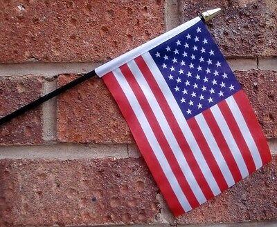 "USA HAND WAVING FLAG Small 6"" x 4"" with black pole U.S.A. American America"