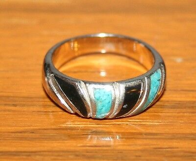 1989 Native American Stainless Steel RING Turquoise Black Onyx Ring SZ 6