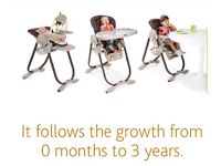 3in 1 Chicco polly high chair can be used from 0-3 years