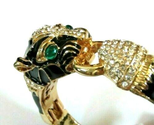 HIGH END Quality Black Enamel Pave Rhinestone Panther Jaguar Bangle Bracelet