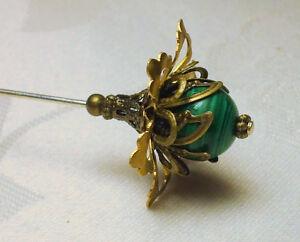 Victorian Art Nouveau Style Bronze Flower Malachite Hatpin