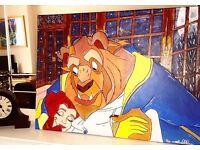 "Custom made Disney 's ""Beauty and the Beast"" A2 canvas 🎨 #beautyandthebeast"