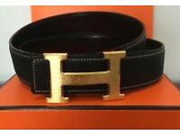 Golden Buckle Hermes Belt