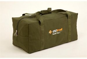 OZTRAIL CANVAS DUFFLE BAG LARGE STRONG TOUGH AND DURABLE GREEN NEWEST MODEL
