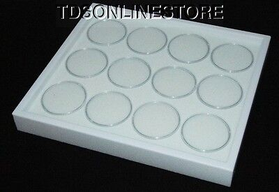 Gem Tray Stackable 12 Jars White Foamwhite Tray
