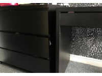 Black malm drawers and desk
