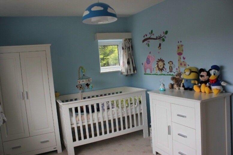 John Lewis Deco White Nursery Furniture Set Cot Wardrobe Chest Of Drawers