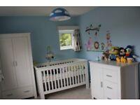 John Lewis DECO White Nursery Furniture Set. Cot, Wardrobe, Chest of drawers, Hanger
