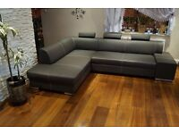 For Sale Real Genuine Dark Grey Leather Corner Sofa Bed Couch in Stock