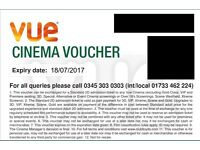 6 x Free Adult Tickets for Vue cinema £25