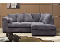 **7-DAY MONEY BACK GUARANTEE!** Desmond Jumbo Cord Corner Sofa or 3 and 2 Set - SAME DAY DELIVERY