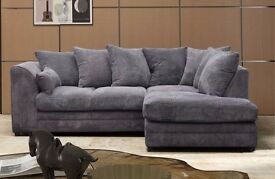 New Dylan Jumbo Cord Corner Sofa Suite in Grey or Brown- SAME/NEXT DAY DELIVERY