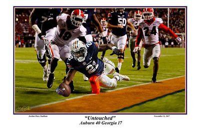 Auburn Football Untouched Kerryon Johnson Vs Georgia 2017 Print By Pitts