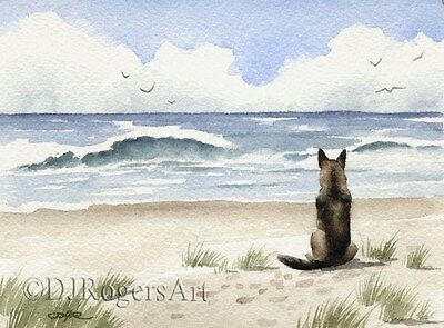 GERMAN SHEPHERD Watercolor DOG 8 x 10 Art Print by Artist DJR