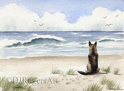 GERMAN SHEPHERD ART Print Watercolor Painting Dog 11 X 14 by Artist DJR