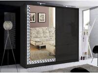 STYLISH DIAMOND DESIGN BORDER💗FULL MIRROR💗LEDs💗BRAND NEW 2 DOOR SLIDING WARDROBE IN BLACK, WHITE