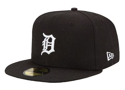 Detroit Tigers Black White New Era 5950 Cap 59Fifty Mlb Baseball Fitted Hat