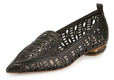 Nicholas Kirkwood Black Beya Laser-cut Leather Loafer Flats Size 8 EU 38