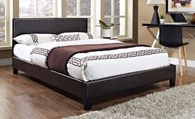 """BRAND NEW- Kingsize Leather Bed w/ 10"""" Dual-Sided White Orthopedic Mattress- Single/Double available"""