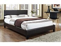 50% DISCOUNTED OFFER: Flat-Packed King 5ft low frame Leather Bed Black / Brown/ With Mattress option