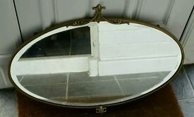 Vintage bevelled mirror brass / gold coloured frame and original chain