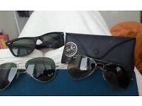 3 pairs of genuine Ray-Ban sunglasses (2 x aviators, 1 x wayfarers)