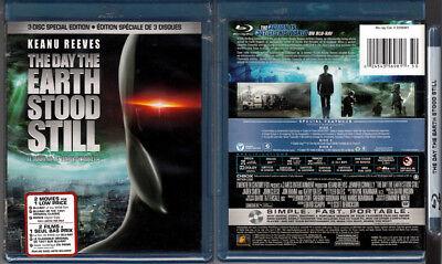 3-Disc Blu-ray DAY THE EARTH STOOD STILL 1951 + 2008 remake Cdn OOP Region A