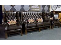 Immaculate Chesterfield Gainsborough Suite 3 Seater Sofa & 2 Wing Chairs Tan Leather - UK Delivery