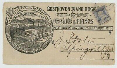 Mr Fancy Cancel 219 ILLUSTRATED AD COVER BEETHOVEN PIANO & ORGANS WASHINGTON NJ