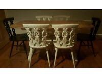 Solid wood dining table and chairs (free local delivery)