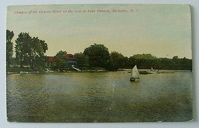 POSTCARD SAIL BOAT GENESEE RIVER LAKE ONTARIO ROCHESTER NEW YORK #66vvc