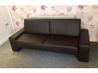 Brown leather sofa bed (Delivery Included)