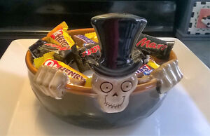 YANKEE CANDLE BONEY BUNCH CANDY BOWL DISH 2010 HALLOWEEN CERAMIC