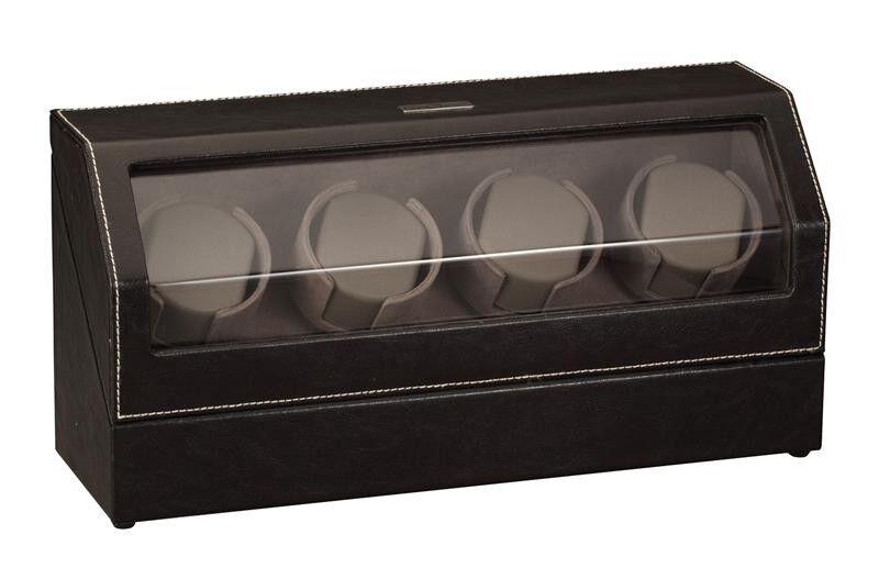 Diplomat Automatic Black Leather Quad Watch Winder Box Storage Organizer Case 4