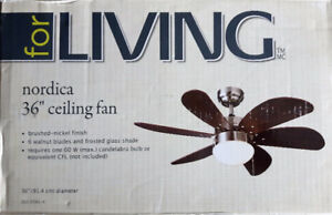 "36"" 6 Blade, Brushed Nickel Ceiling Fan, (No Remote)"