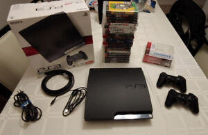 SONY PLAYSTATION 3 SLIM - 120GB WITH 22 GAMES FOR ONLY $160.00