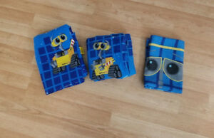 3 PC - Wall-E And Eve Twin Sheet Set Disney Pixar Fitted Flat Pi