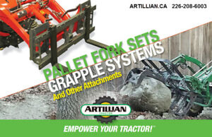Compact Tractor Pallet Fork and Grapple System from Artillian.ca