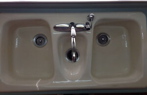 Enamelled Cast Iron Triple Basin Sink
