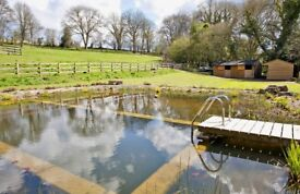 Stables, Tack room and feed store together with paddock with direct access to bridle path.