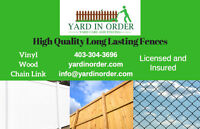 Fencing : Vinyl, Wood, Chain Link